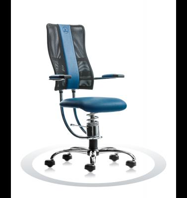Ergonomische stoel Spinalis Hacker Crome donker blauw