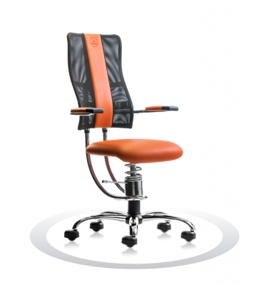 Ergonomische bureaustoel Spinalis Hacker Crome oranje