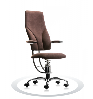 Ergonomische werk- en bureaustoelen Spinalis Navigator Chrome bruin